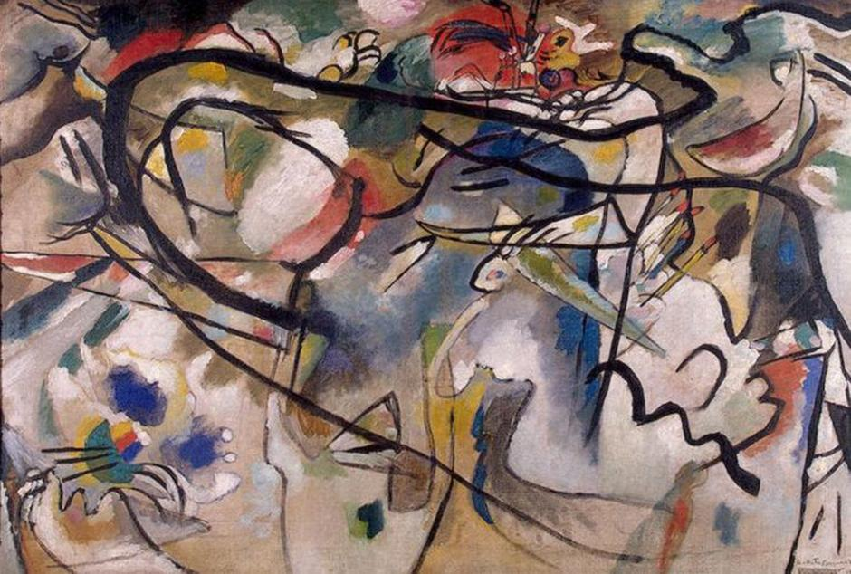 In his own words, Kandinsky's abstract works can be divided into three groups (by the degree of separation from the subject): impressions, improvisations and compositions. The former are born as direct impressions of the outer world, while improvisations unconsciously express inner impressions. // Composition V, 1911