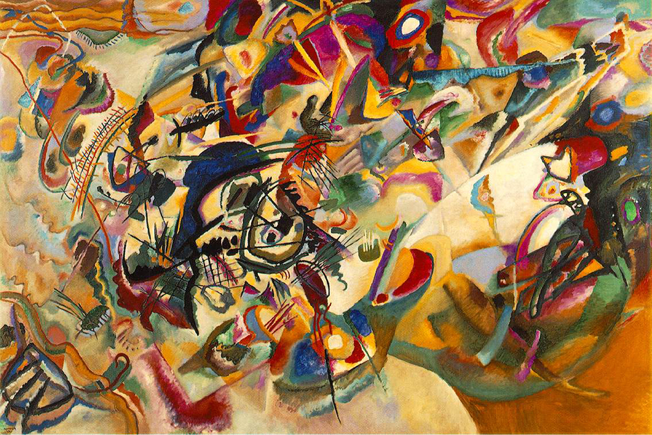 "For Wassily Kandinsky, the bedrock of any creative activity was the composition as a concept. Therefore, his compositional works stand apart from the rest of his oeuvre. ""From the very outset,"" the artist wrote, ""that one word ""composition"" sounded to me like a prayer."" // Composition VII, 1913"