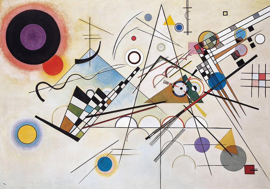 """Composition VIII"" is Kandinsky's most famous work in the series. It reflects the influence of Suprematism and Constructivism, in which Kandinsky immersed himself while in Russia and at the Bauhaus. // Composition VIII, 1923"