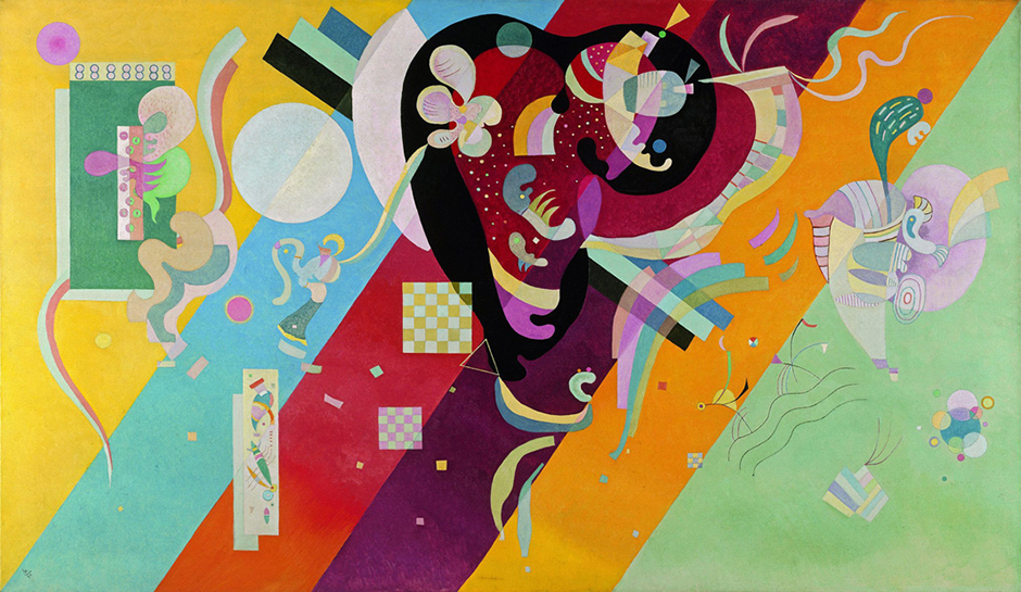 "Kandinsky himself described the pivotal moment when he happened to glance at one of his pictures resting sideways against a wall. In it he suddenly saw ""an indescribably beautiful picture saturated with inner fire, consisting exclusively of colored spots."" It dawned on him that objectivity was detrimental to his pictures. // Composition IX, 1936"