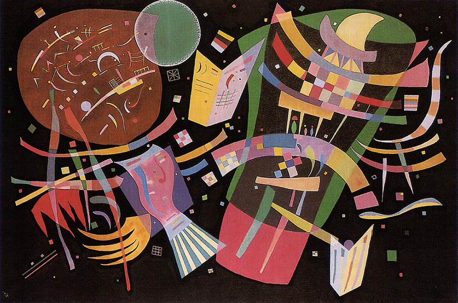 """Compositions"" spans Kandinsky's creative process - from his first steps on the path towards abstraction to his final Parisian period, when he departed from rigid geometrics in the tradition of the Bauhaus school in favor of milder forms under the influence of the Paris school of surrealists, which included Joan Miro and Jean Arp. // Composition X, 1939"