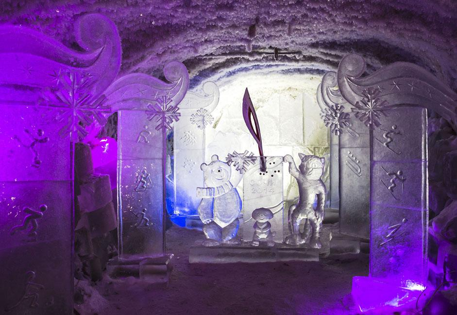 There are ice sculptures everywhere, a result of the annual ice sculpting competition for all of Siberia and Russia's Far East. Some of them were created especially on the occasion of The 2014 Winter Olympics in Sochi.