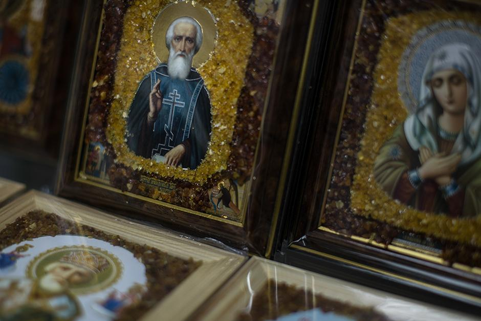 Orthodox icons made of amber fragments displayed for sail in Kaliningrad. Not only icons are decorated with amber, but cathedrals as well. The Cathedral of the Exaltation of the Cross in Kaliningrad, for example, has amber crosses and decorations.