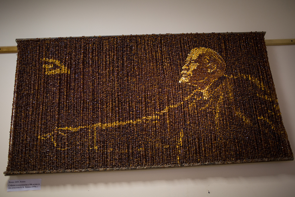 A panel made of amber fragments depicting Soviet founder Vladimir Lenin at the museum of the Amber Combine.