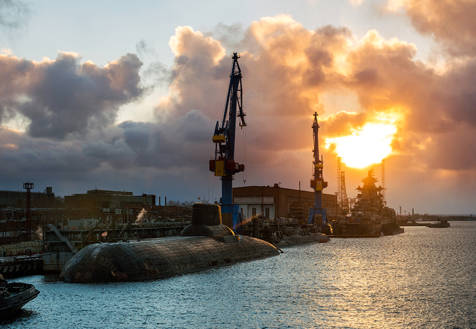 The Sevmash shipbuilding company is located in the Arkhangelsk-region city of Severodvinsk. It is the largest shipbuilding complex in Russia. Sevmash's primary focus is in building nuclear submarines for the Russian Navy.
