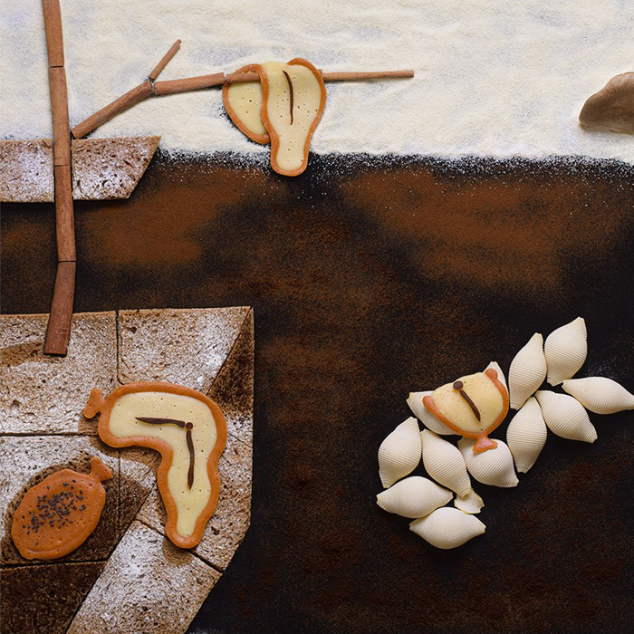 """The Russian food-stylist and photographer Tatyana Shkondina has brought to life a long-anticipated art project: recreating world-famous paintings with food and various other items. She comments on each of her works. Salvador Dali, """"The Persistence of Time"""", 1931. """"This was one of the hardest paintings because I wanted to preserve the sense of depth without making it too deep. Particulate matter and gradients came to the rescue."""""""
