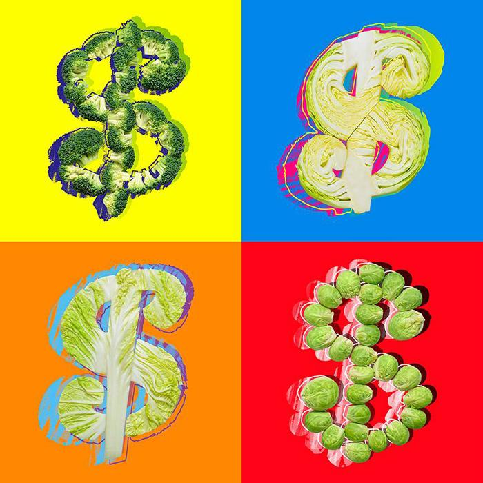 """Andy Warhol, """"Dollar Sign"""", 1982. """"Warhol painted a lot of variations with the dollar sign in different colors and on different backgrounds. This selection was the result. The funniest part for me was thinking up how to make the dollar sign with different colors of """"cabbage"""" (Russian slang for 'money'). It was a little cheekiness that entertained me in the process."""""""