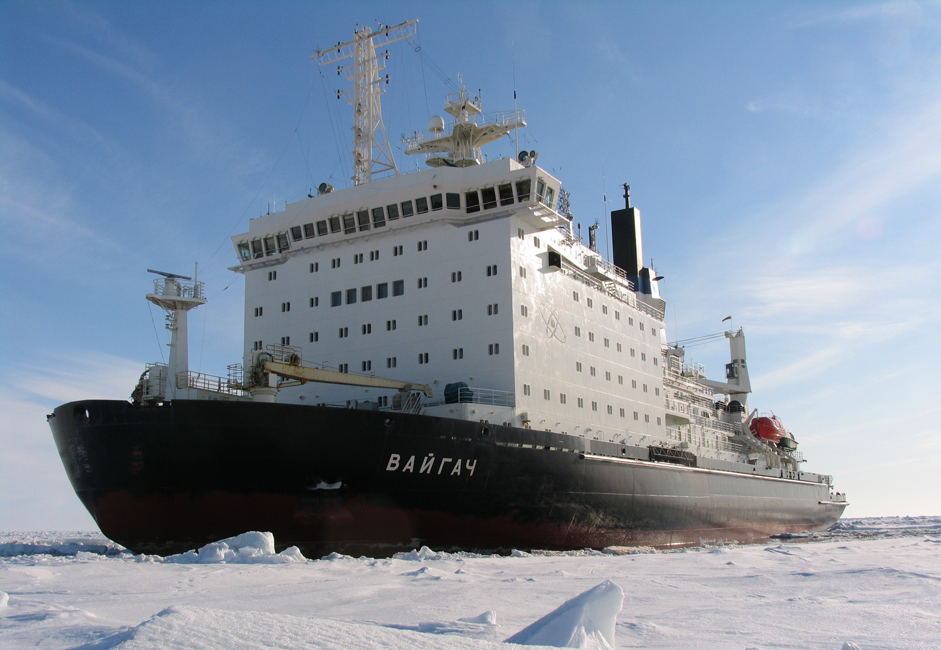 "The acting fleet includes four atomic icebreakers with two nuclear reactors 75 thousand horse power strong –  ""Rossiya"",  ""Sovetsky Soyuz"",  ""Yamal"",  ""50 Let Pobedy"", two atomic icebreakers with a single reactor power plant 40 thousand horse power strong –  ""Taymir"" and  ""Vaygach"" and atomic lighter  ""Sevmorput""."