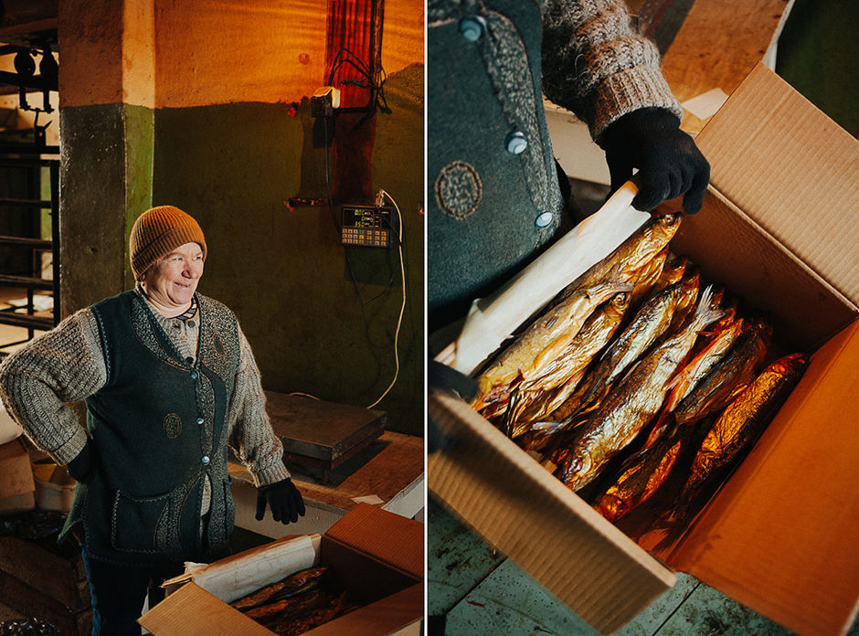 Nadezhda Pavlovna works in the smokehouse in Khuzhir. It is she who sells the famous Baikal cold-smoked omul throughout the country!