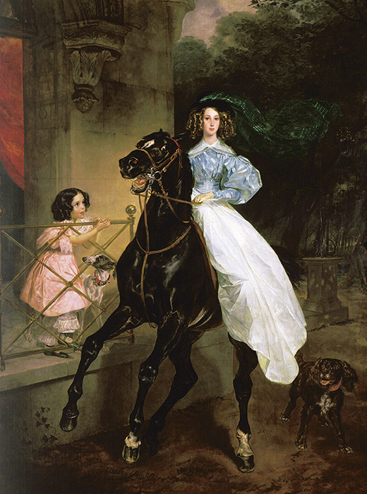 Equestrian. Karl Bryullov, 1832 / Equine strength conquered by simple beauty is the main motif of the picture.