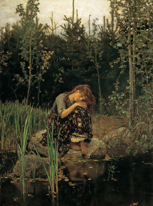 Alenushka. Victor Vasnetsov, 1881 / Alenushka is a character from Russian folk tales. Here, she is modeled on a peasant girl and symbolizes prettiness and the silence of an obedient orphan.