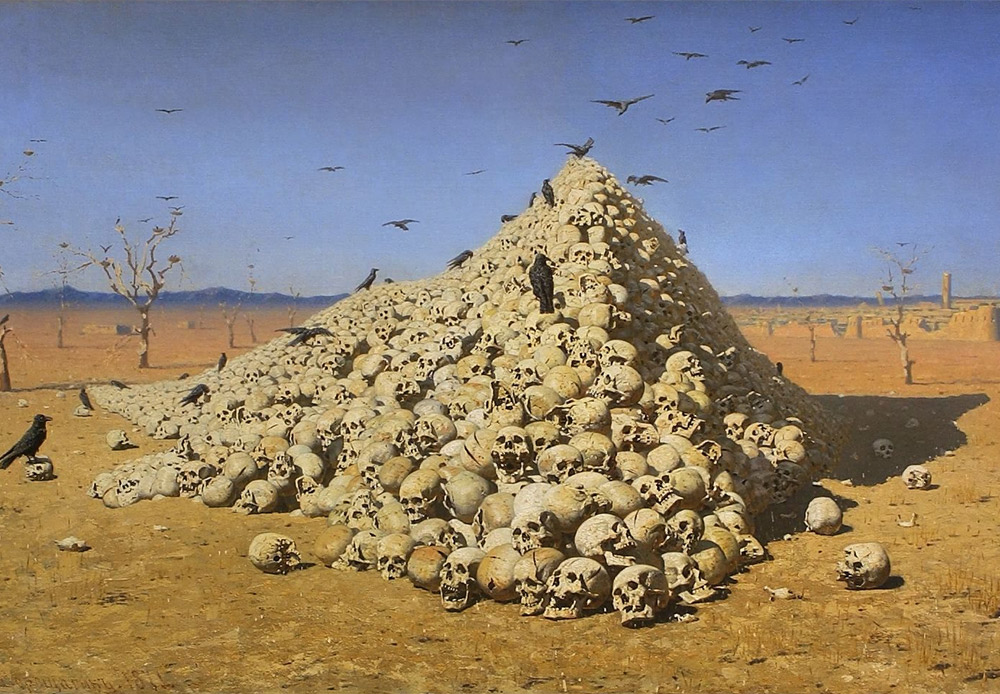 The Apotheosis of War. Vasily Vereshchagin, 1871 / A pyramid of human skulls conveys the destructive power of war.