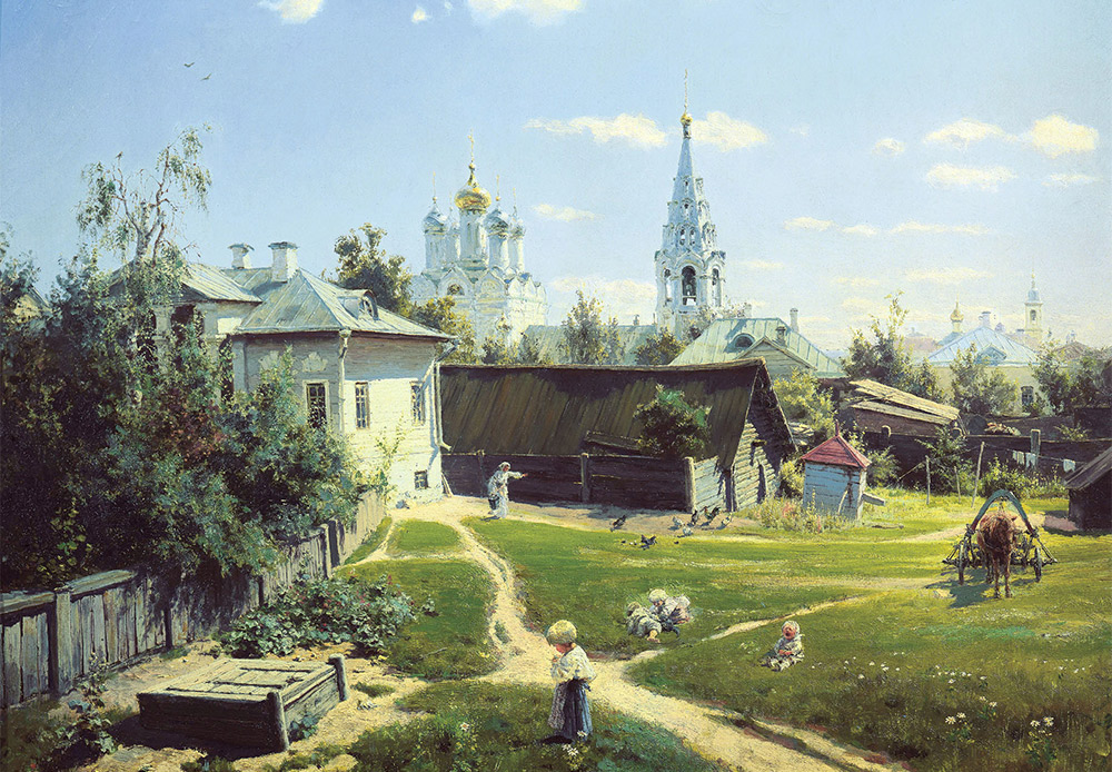 Moscow Country Yard. Vasiliy Polenov, 1878 / Polenov's celebrated painting of ordinary traditional Russian life. The church in the picture still stands on Arbat Street, right in the center of Moscow.
