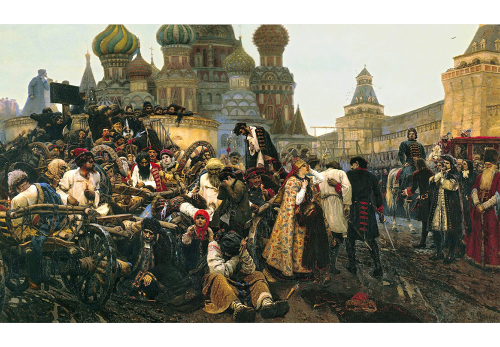 「銃兵隊処刑の朝」ヴァシーリー・スリコフ、1881 /ピョートル大帝が1698年に反乱を起こした銃兵隊を処刑する場面