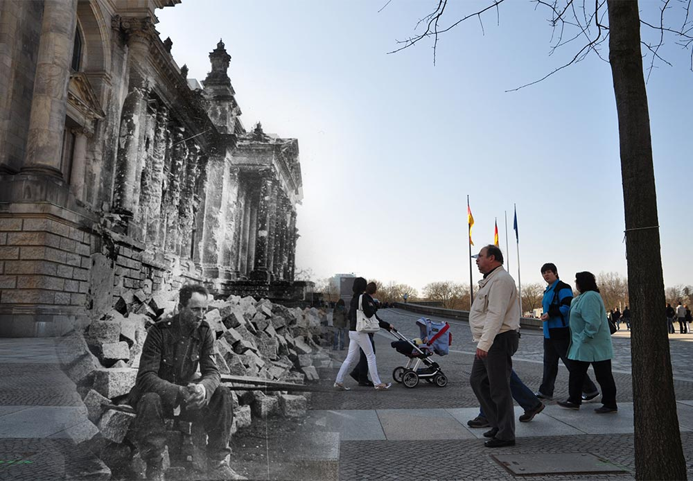 Mash-ups of archival wartime photos