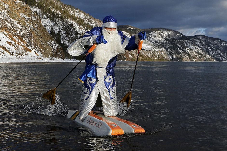 water-skis along the Yenisei River