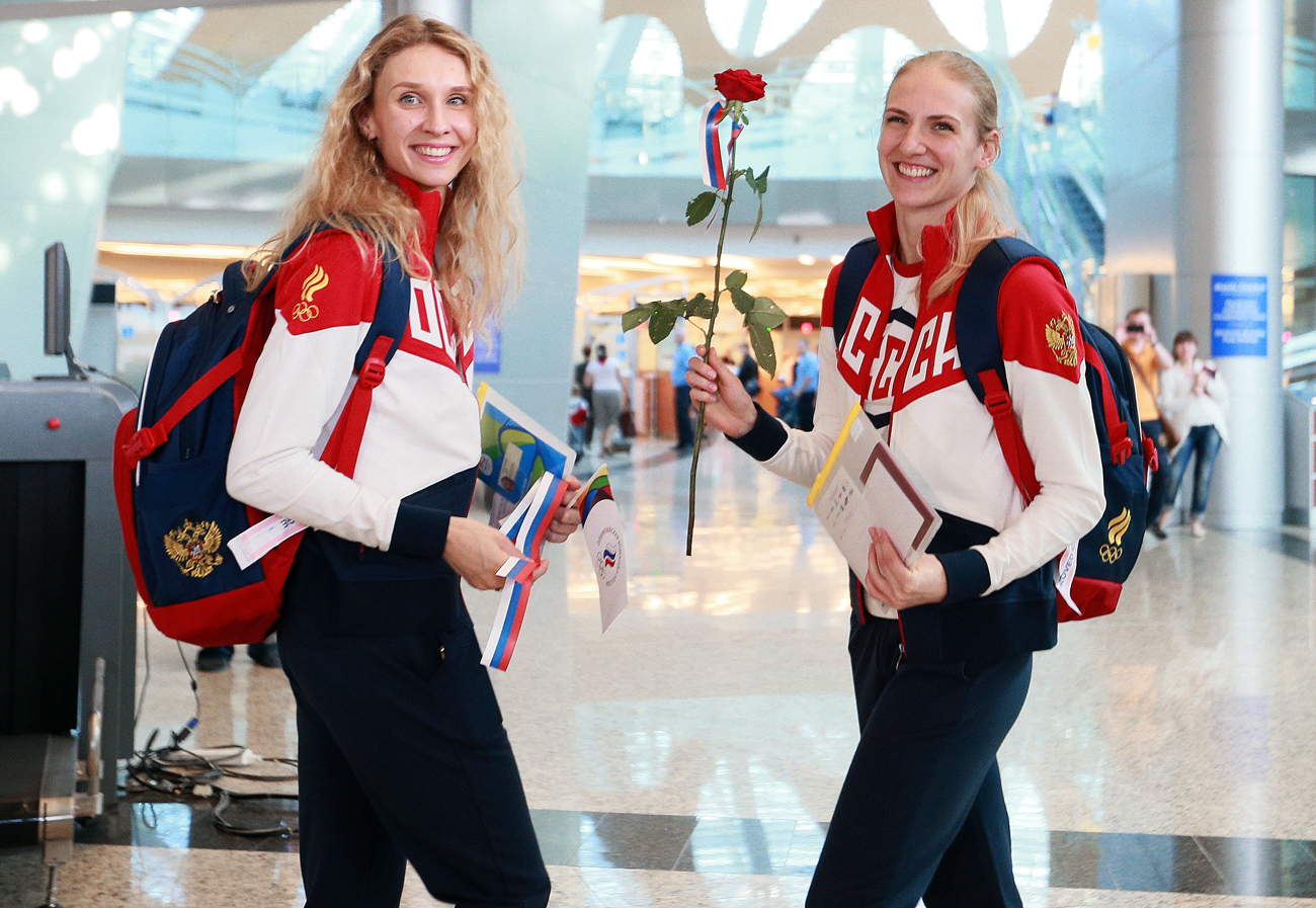 Members of the Russian Olympic team