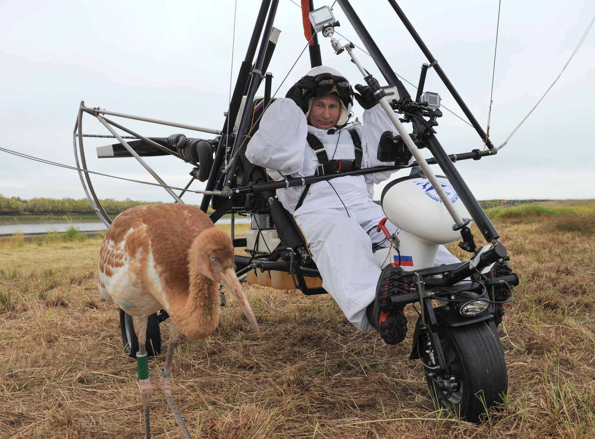 Putin in an aerial vehicle
