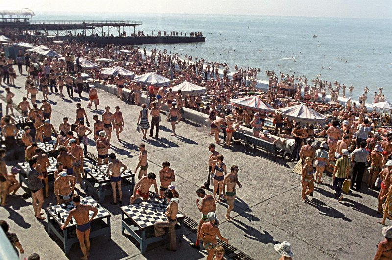 Soviet people on the beach
