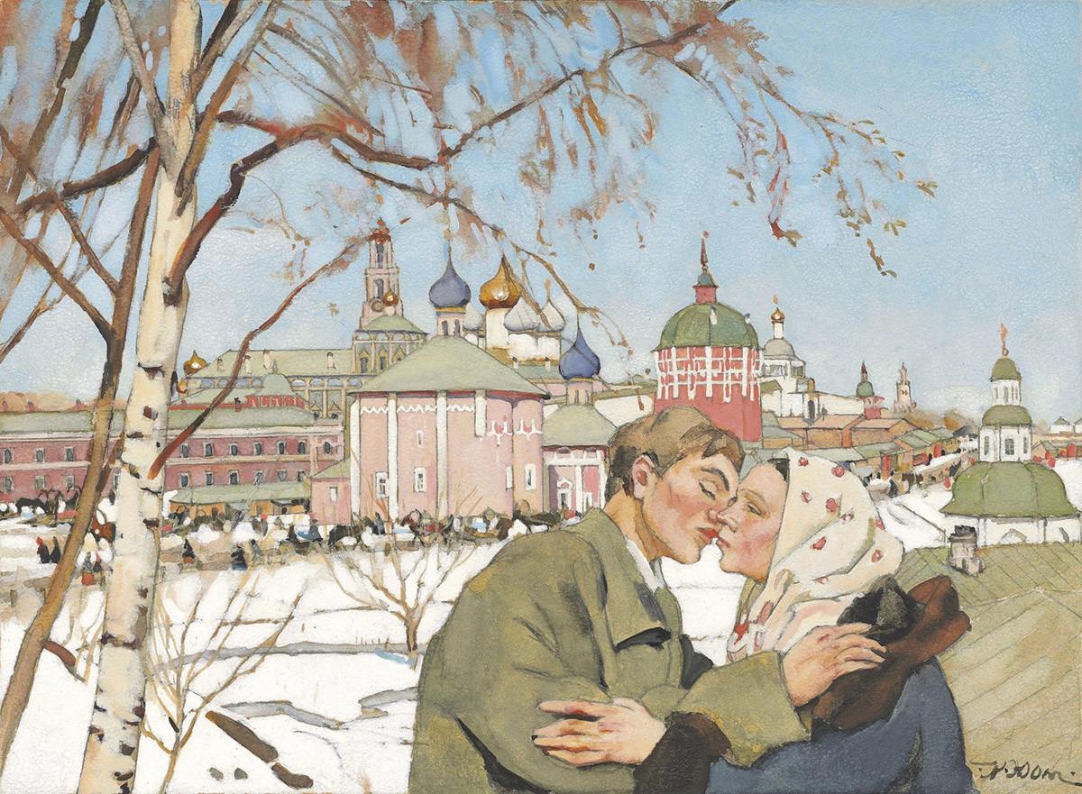Konstantin Yuon - Easter Kiss