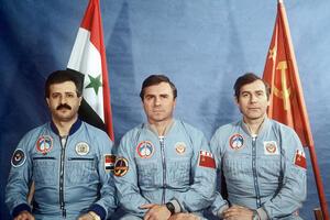 Soviet and Syrian cosmonauts