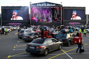 Live&Drive concert on a parking lot of Luzhniki stadium