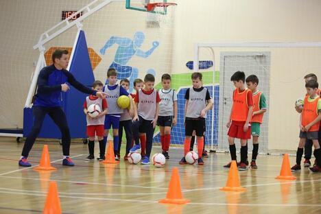 Kids playing football in Kazan medium school