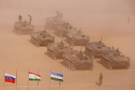 Russia, Tajikistan and Uzbekistan during the military exercises near the Afghan border.