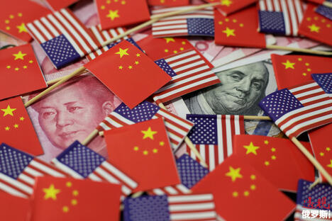US China Flag and Currency