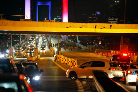 Turkish soldiers block Istanbul's iconic Bosporus Bridge
