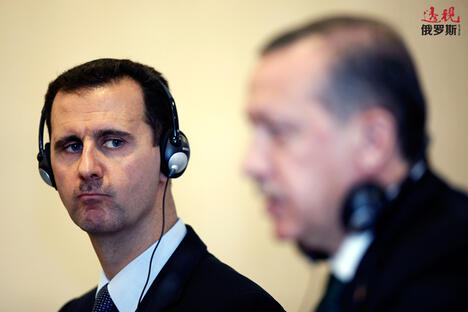 Tayyip Erdogan (R) and Syria's President Bashar al-Assad CN