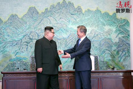 Moon Jae-in and Kim Jong Un