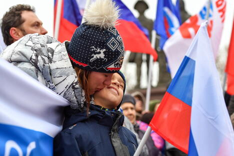 People with Russian flags