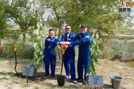 Cosmonauts plant trees