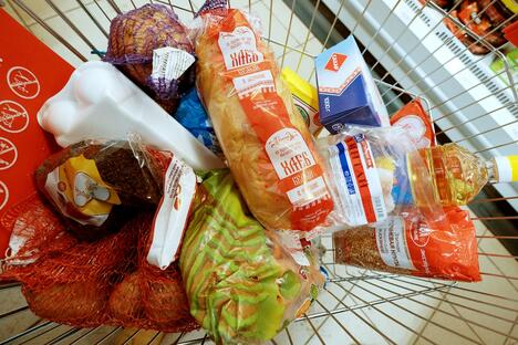 Grocery cart full of food