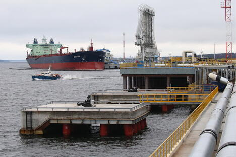 "Russia. Leningrad region. Tanker ""Master"" in the port of Primorsk."