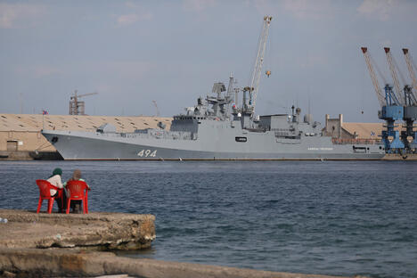 A Russian warship is docked in the Port Sudan