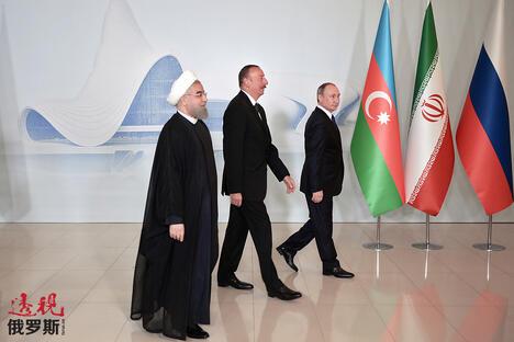 Vladimir Putin Ilham Aliyev Hassan Rouhani CN