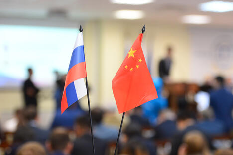 Russia China flags