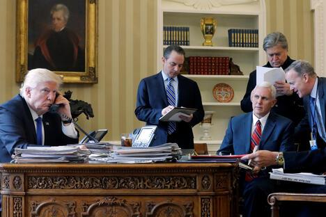 Trump on the phone