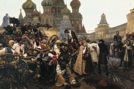 """Surikov is attracted by strong vibrant personalities in which the rebellious spirit of the people runs deep: the fierce determination and indomitable spirit of the red-bearded Streltsy in the """"Morning of the Streltsy Execution"""" (1881), and the passion and fanatical asceticism of Boyarynya Morozova in the eponymous painting."""