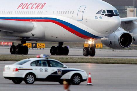 俄罗斯的飞机停在北京国际机场。摄影:AP