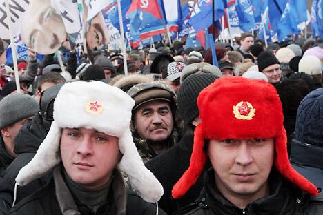图中:普希金广场选举后的抗议活动。摄影:俄新社