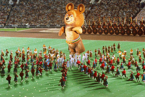 1980年7月19日,第二十二届夏季奥运会在莫斯科开幕。摄影:俄新社(Sergey Guneev)