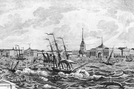 作品:《1824年圣彼得堡洪水》,版画,创作于1820年