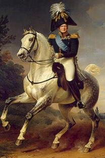"""《亚历山大一世骑马像》。画家弗朗茨•克鲁格绘于1832年。现藏于埃尔米塔什博物馆""""1812年俄法战争""""展厅。"""