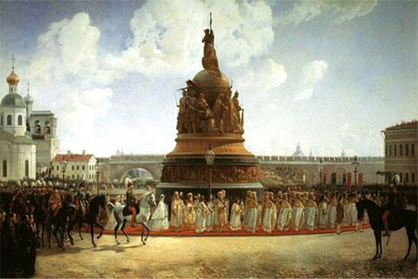 1862年9月21日,俄国立国一千周年的纪念碑在诺夫哥罗德揭幕。