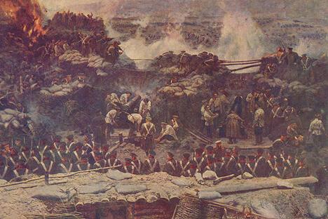 塞瓦斯托坡尔防御。弗兰兹·鲁伯画,1904年。