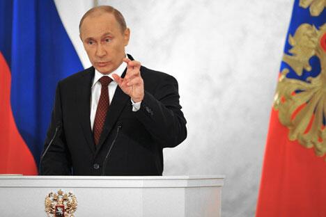"""谈到主权国家问题时,普京说:""""21世纪,在全球经济、世界文明和各国军事重新布局的背景下,俄罗斯应该成为有影响的主权国家。""""图片来源:俄新社"""