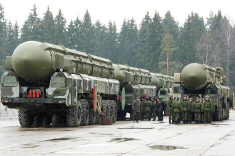 """""""白杨-M""""洲际战略导弹。图片来源:塔斯社"""